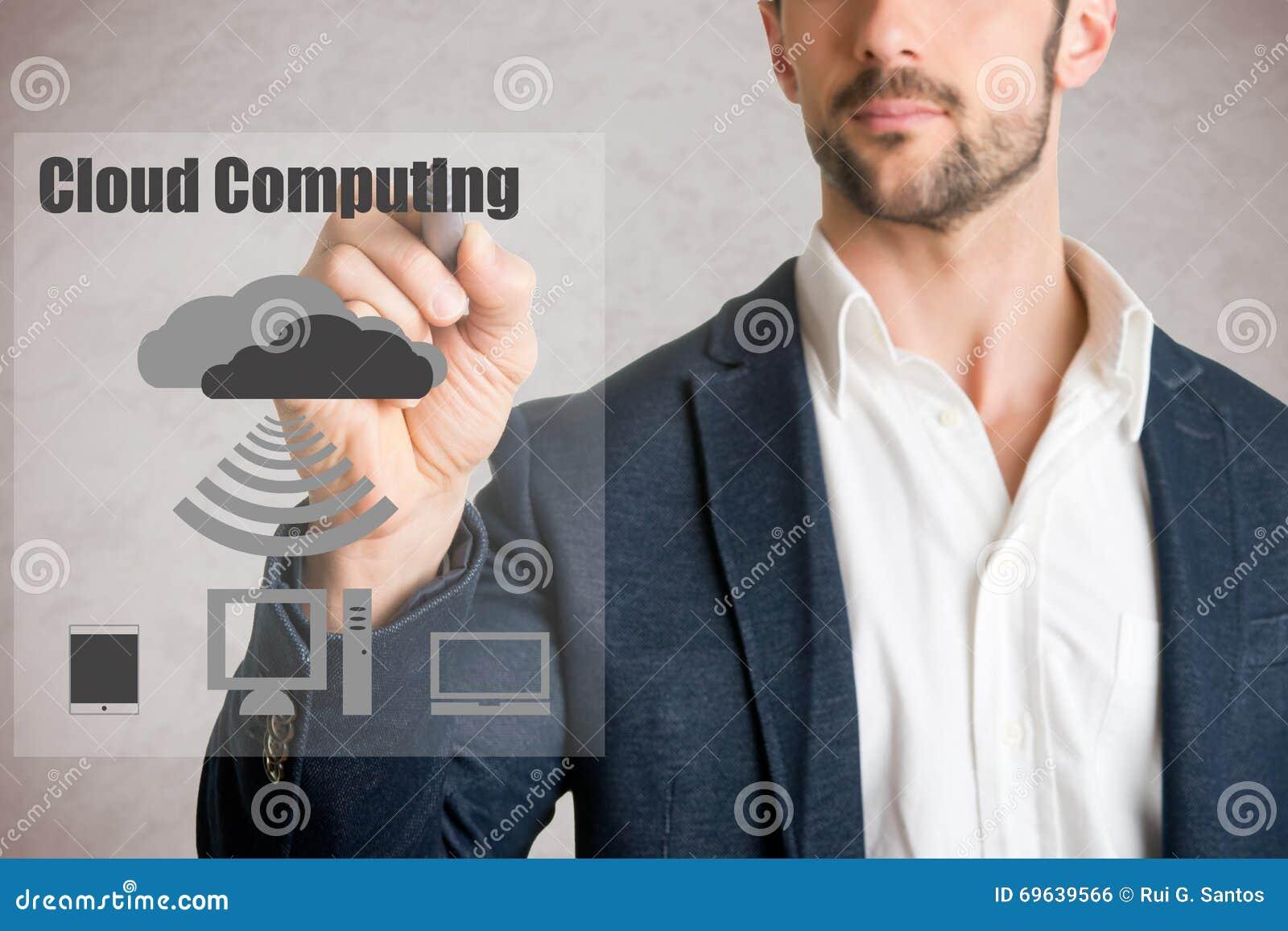 Man Drawing Cloud Computing
