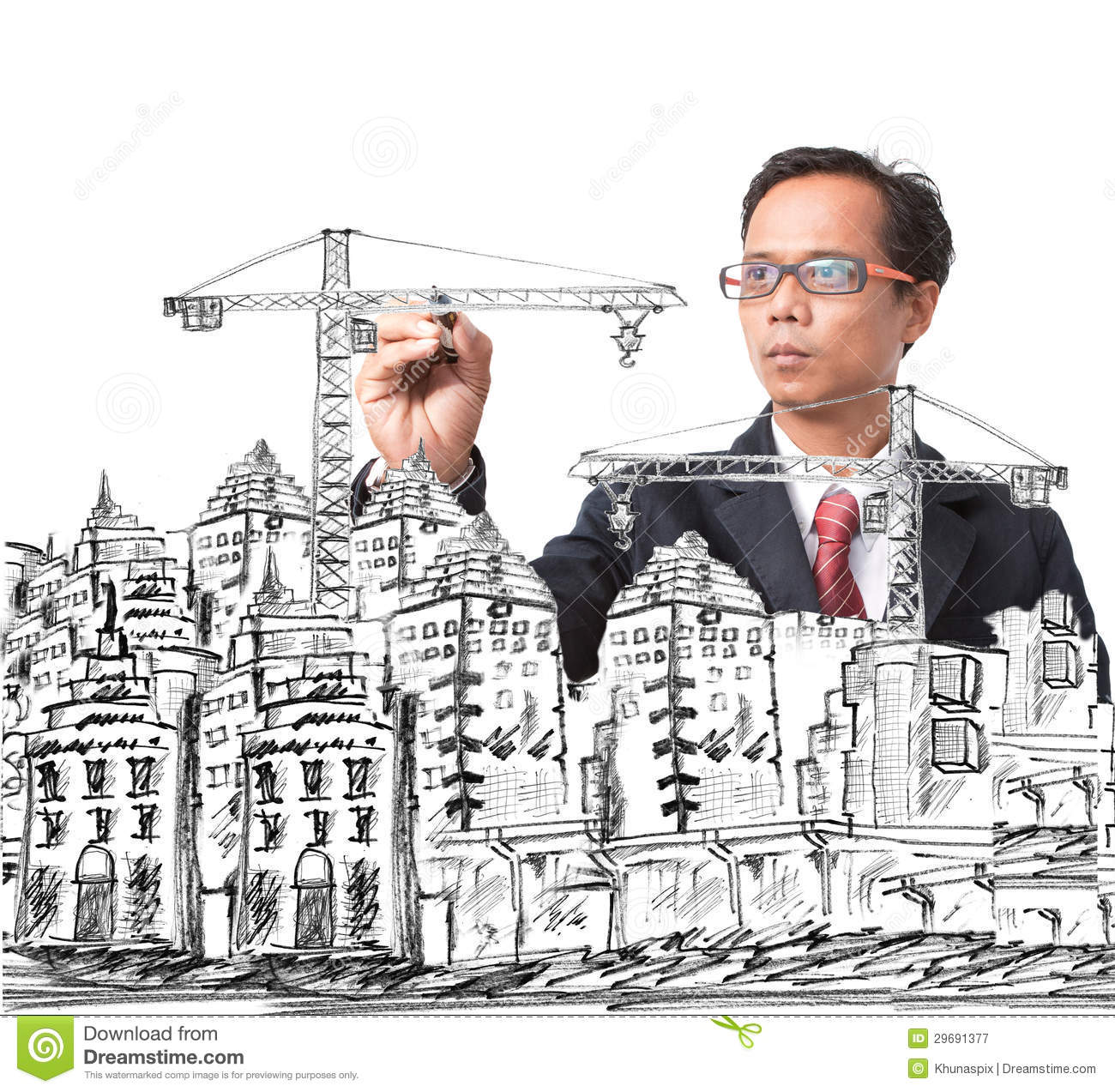 Man Drawing Modern Building Construction Stock Photos Images - Modern building sketches