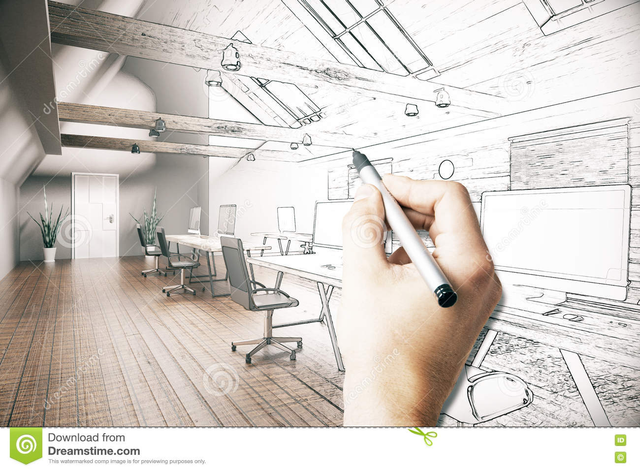 Man drawing office project stock illustration image of - Hand drafting for interior design ...