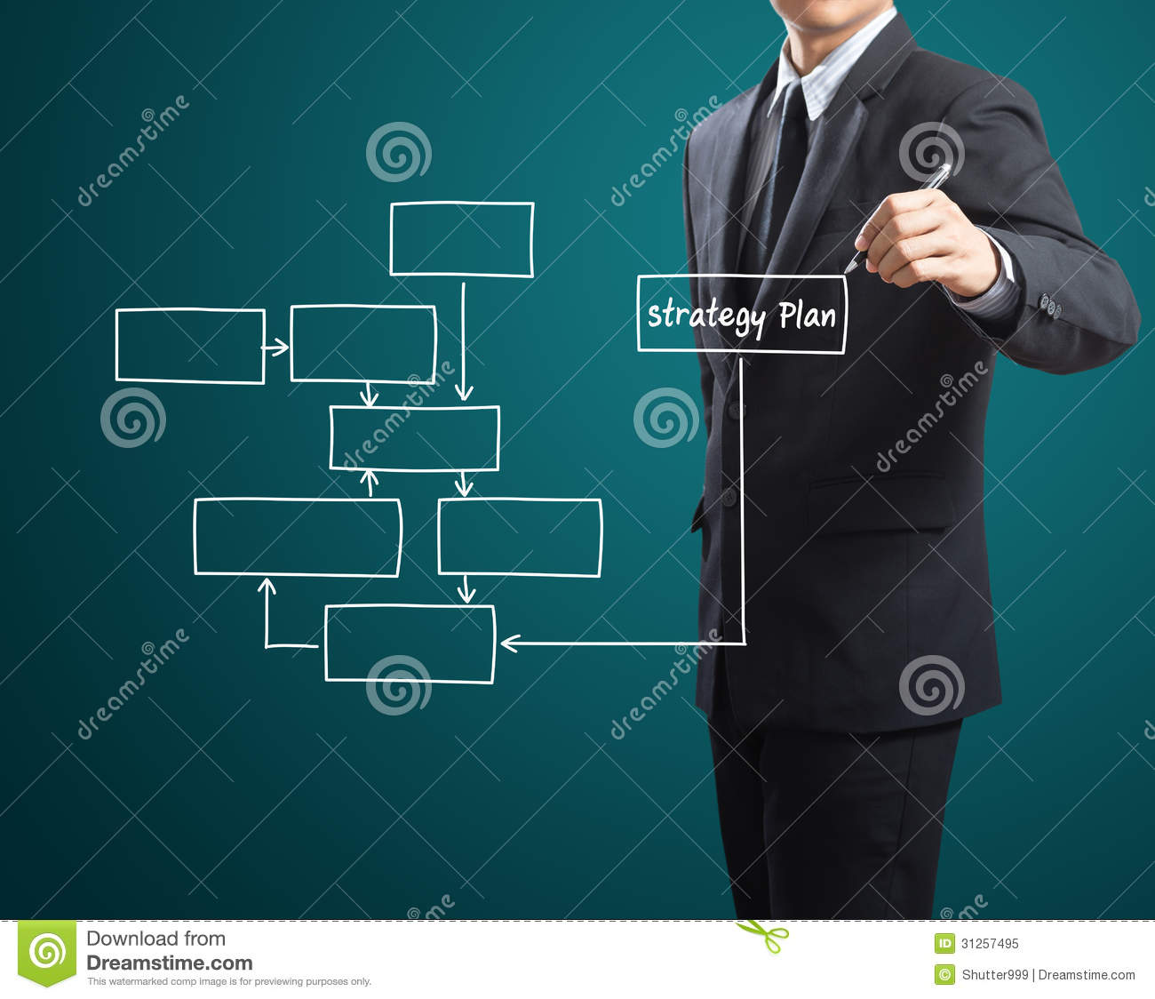 Man Drawing Strategy Flow Chart Stock Image - Image of board ...