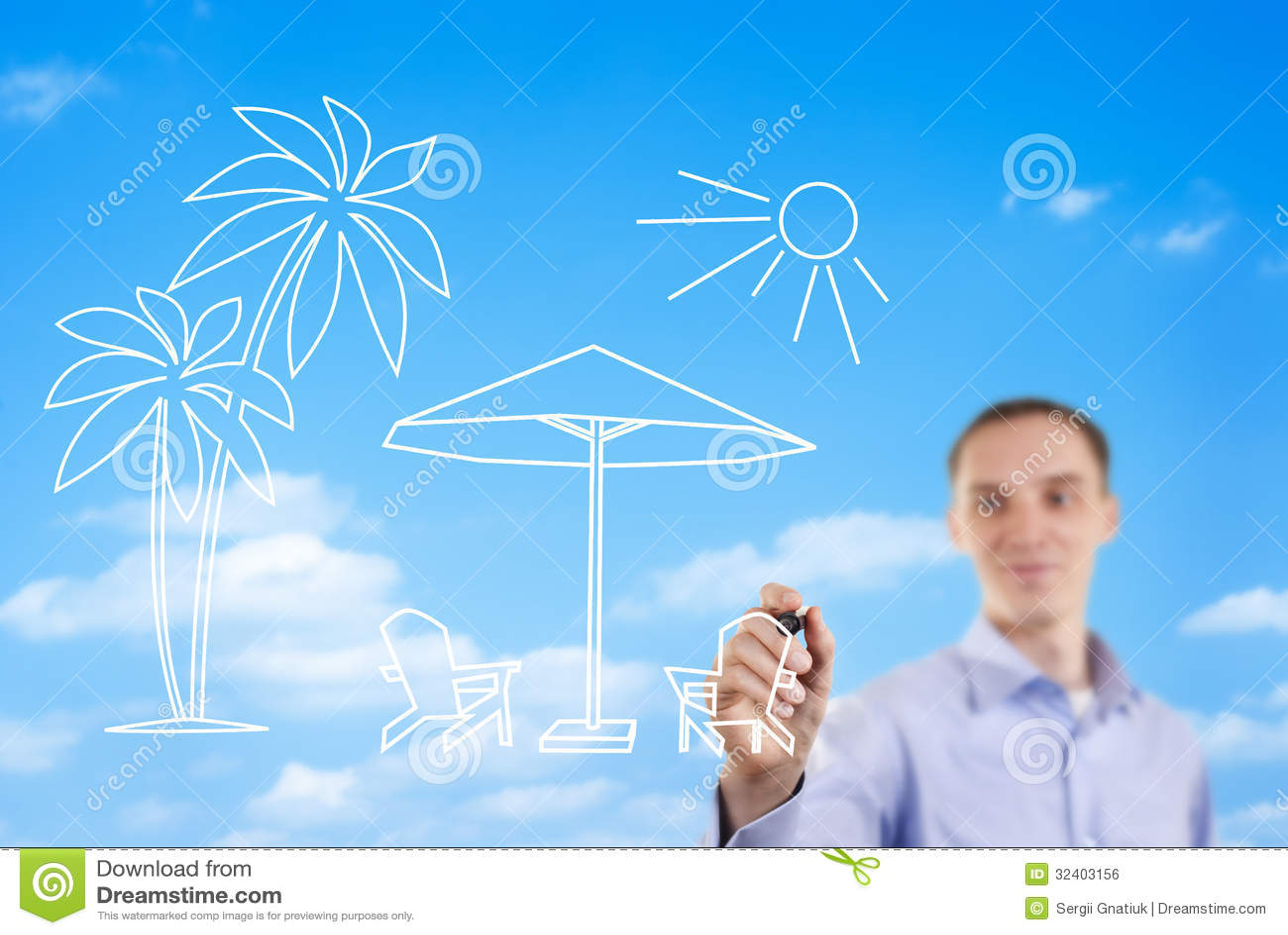 Man drawing a summer beach scene