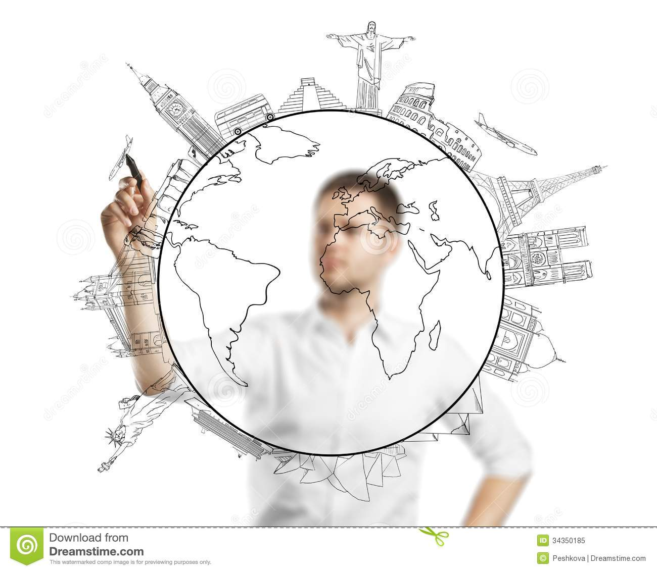 Man drawing travel stock image. Image of education, leadership - 34350185