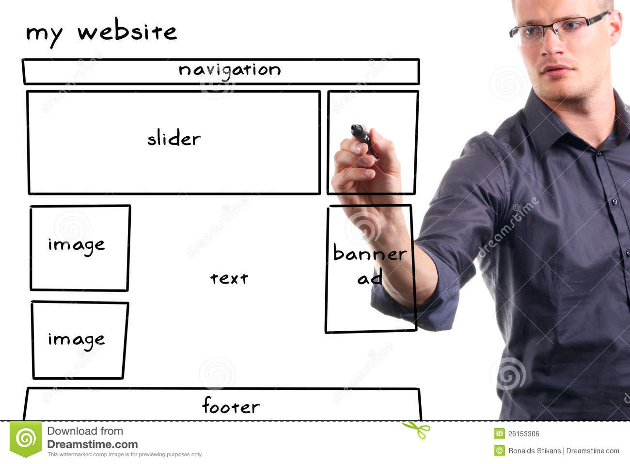 Man Drawing Website Wireframe Royalty Free Stock Image