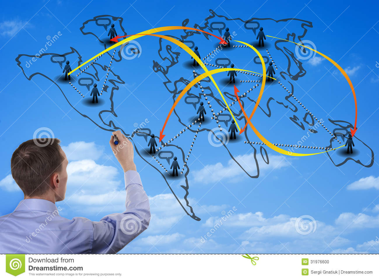 Man drawing on a world map on a glass wall stock photo image of man drawing on a world map on a glass wall gumiabroncs Choice Image