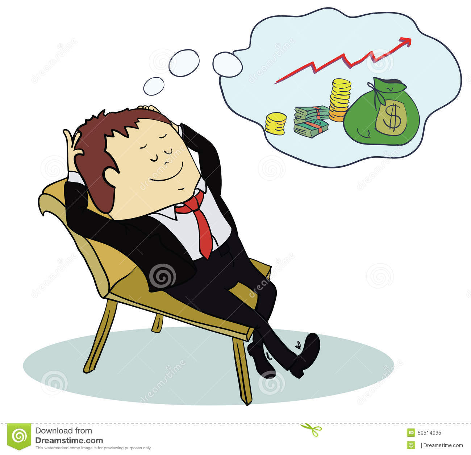 Man Dream About Money Concept Cartoon Stock Vector Image