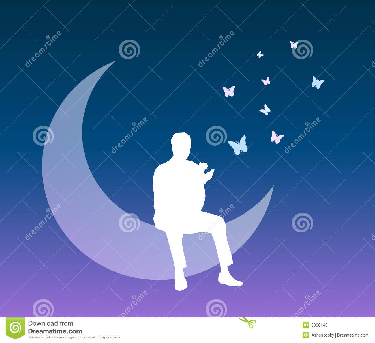 Man Into A Dream Vector Background Stock Photo Image