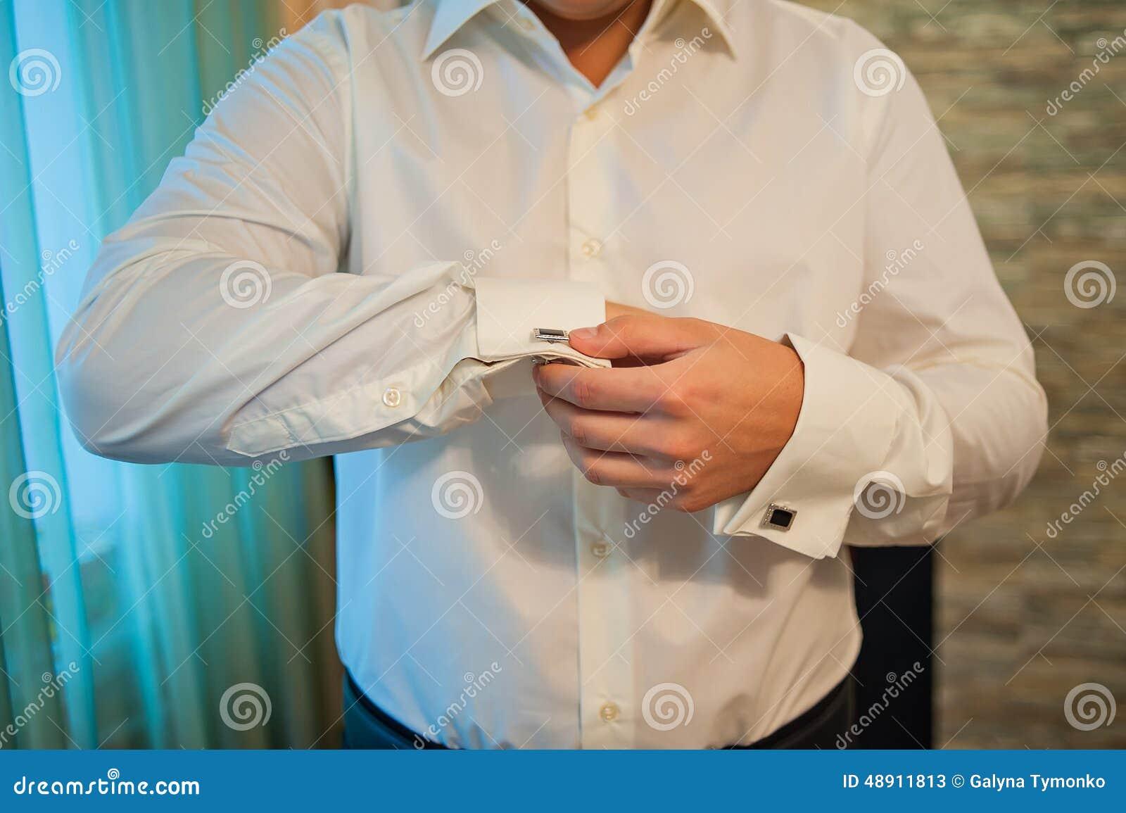 Man In A Dress Shirt Cufflinks Stock Photo Image 48911813