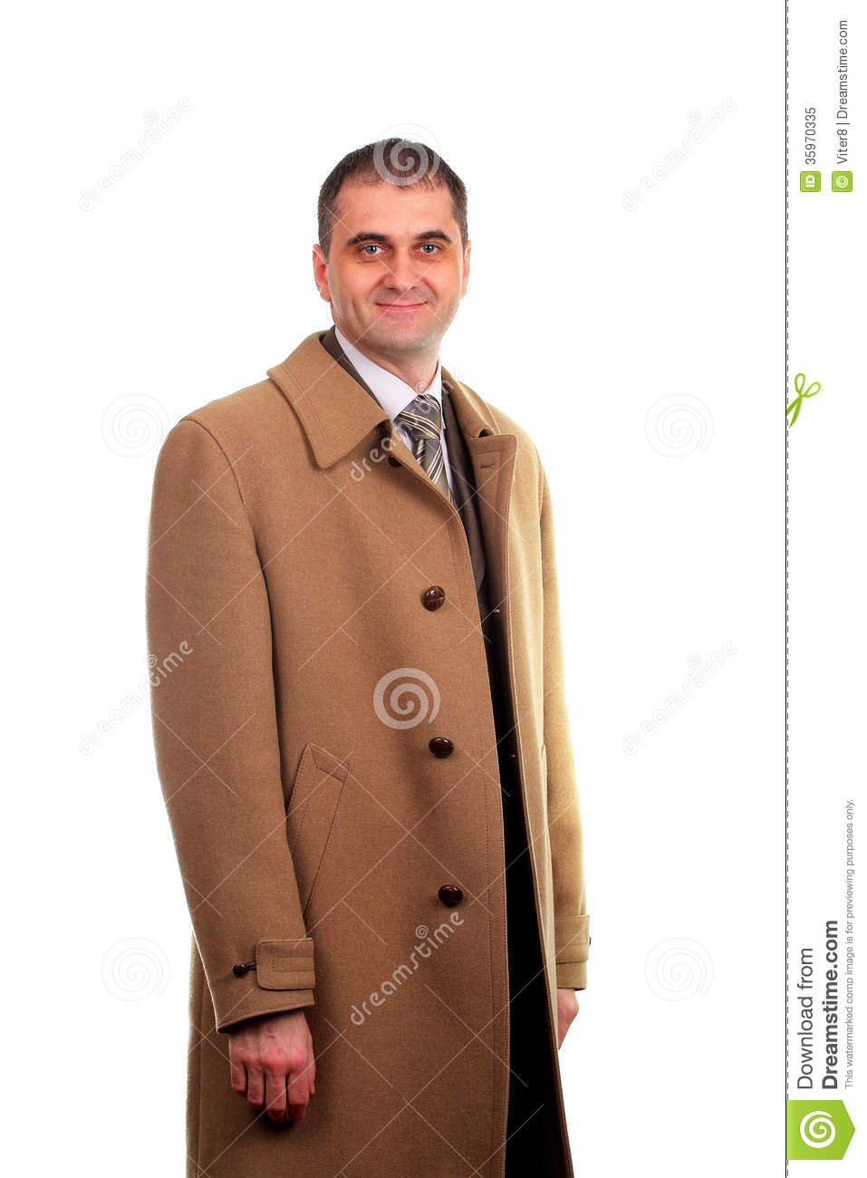 Man Dressed In Light Brown Coat Isolated On White Royalty Free ...