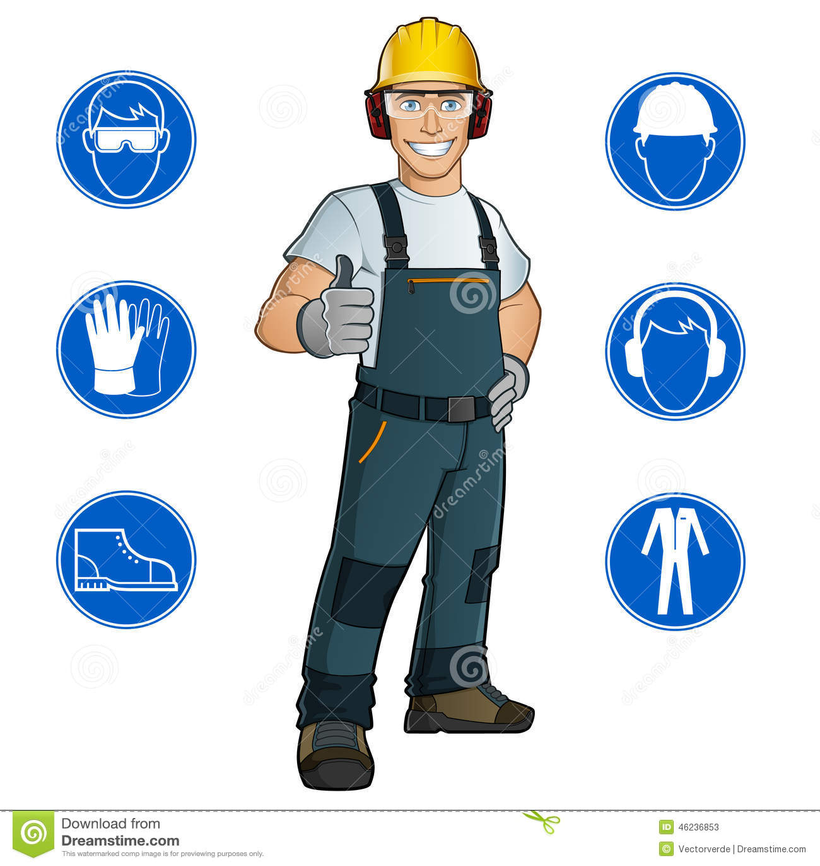 Best Work Gloves >> Man Dressed In Work Clothes Stock Vector - Illustration of equipment, helmet: 46236853
