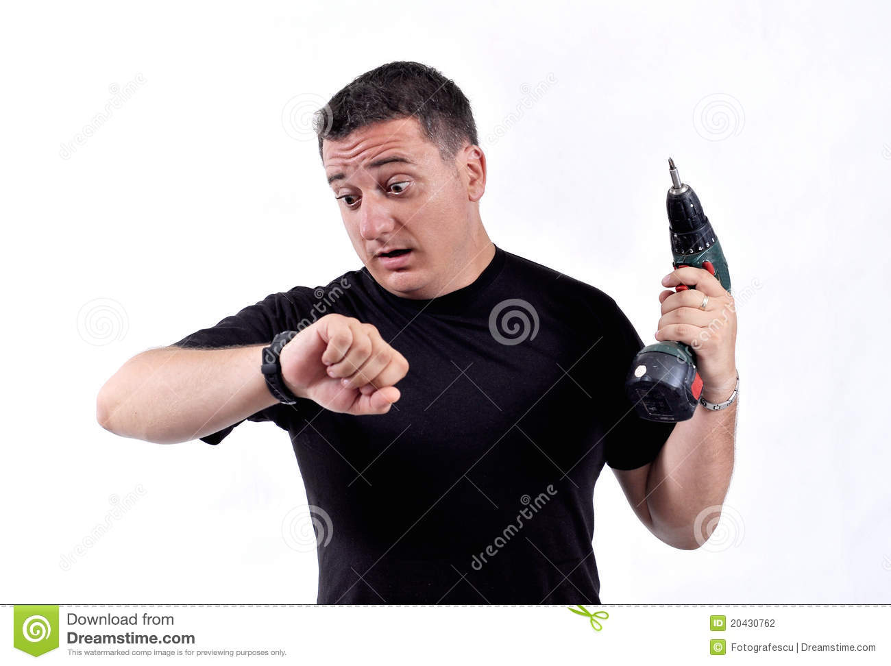 Man with a drill machine