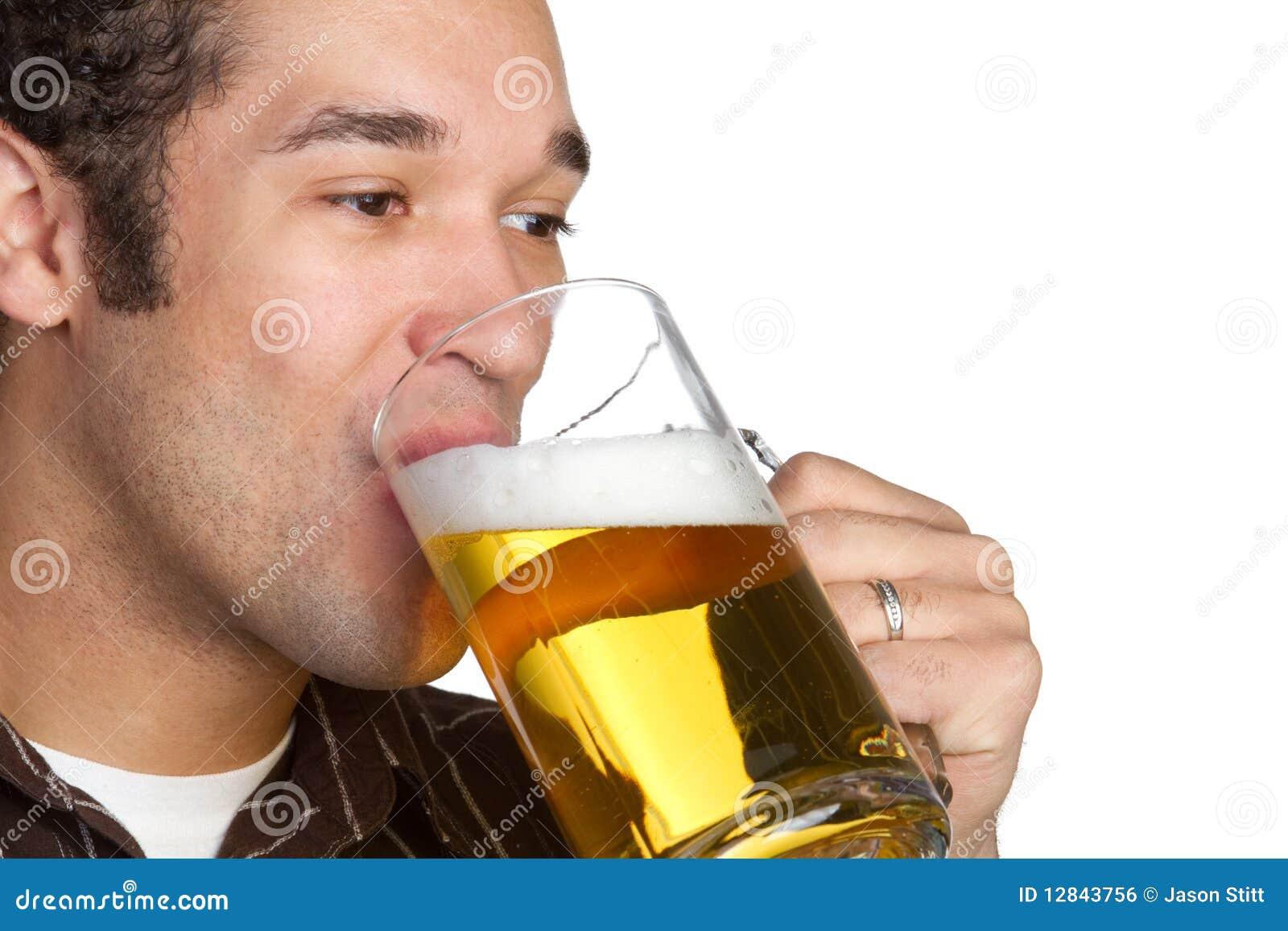 African american man drinking beer.