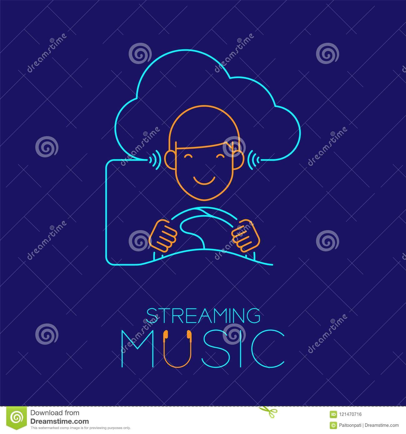 Man drive car with cloud connect, Steering wheel shape made from cable, Streaming music concept design illustration