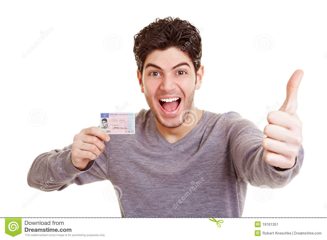 man with drivers license stock image