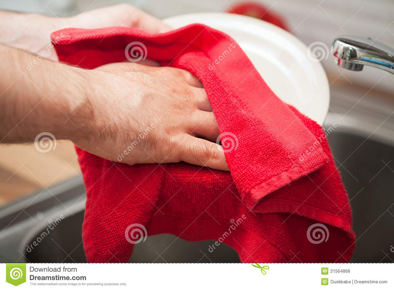 Man Drying The Dishes Royalty Free Stock Photos Image