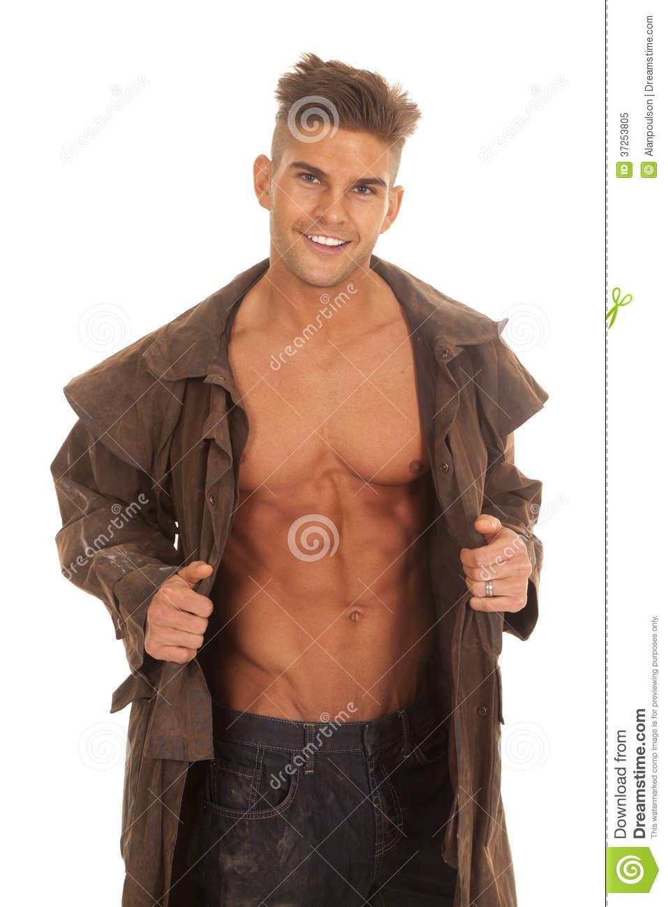 Man In Duster No Shirt Smile Royalty Free Stock Photo - Image ...