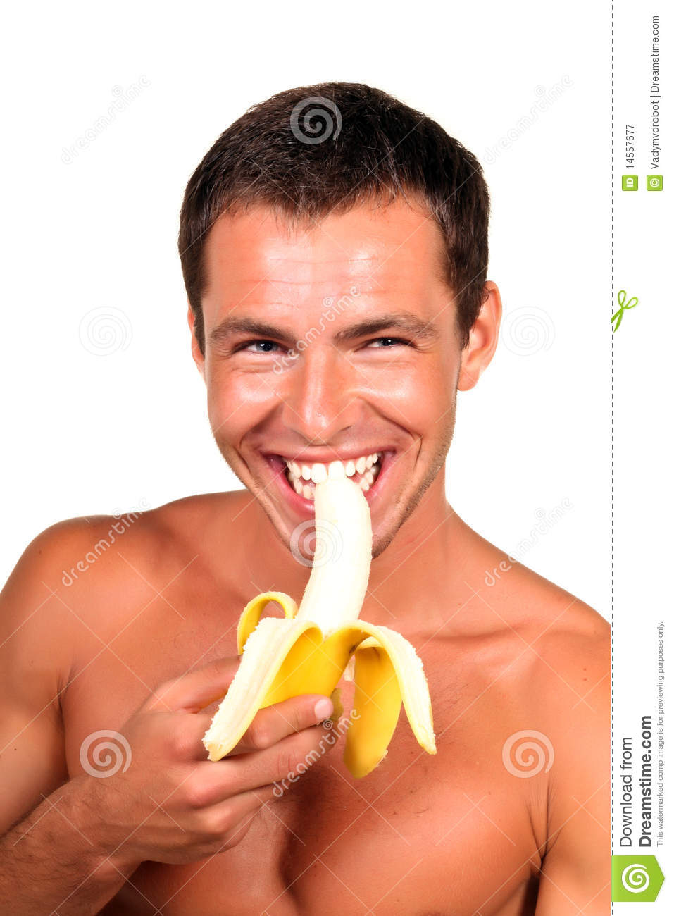 Man eating banana stock image. Image of body, isolation ...