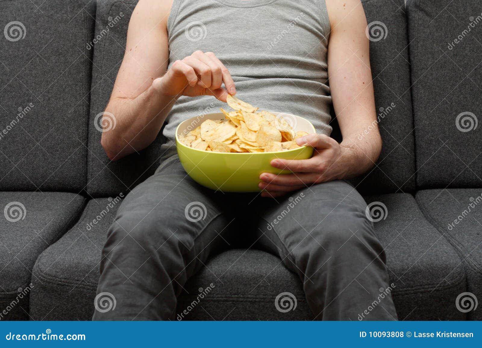 Man Eating Chips Royalty Free Stock Photos Image 10093808