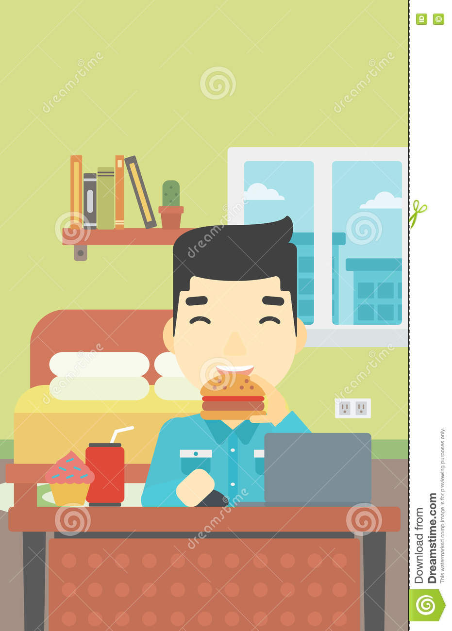 Man eating hamburger vector illustration stock vector image 74833014 - Food in the bedroom ideas ...