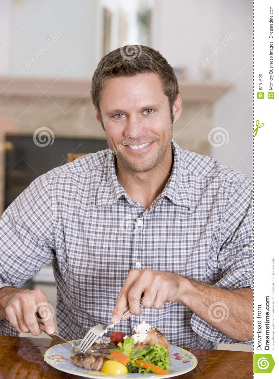 Man Eating Healthy Meal Mealtime Together Stock Photo