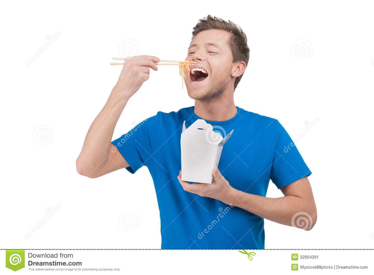 Man Eating Noodles Stock Image Image 32904291