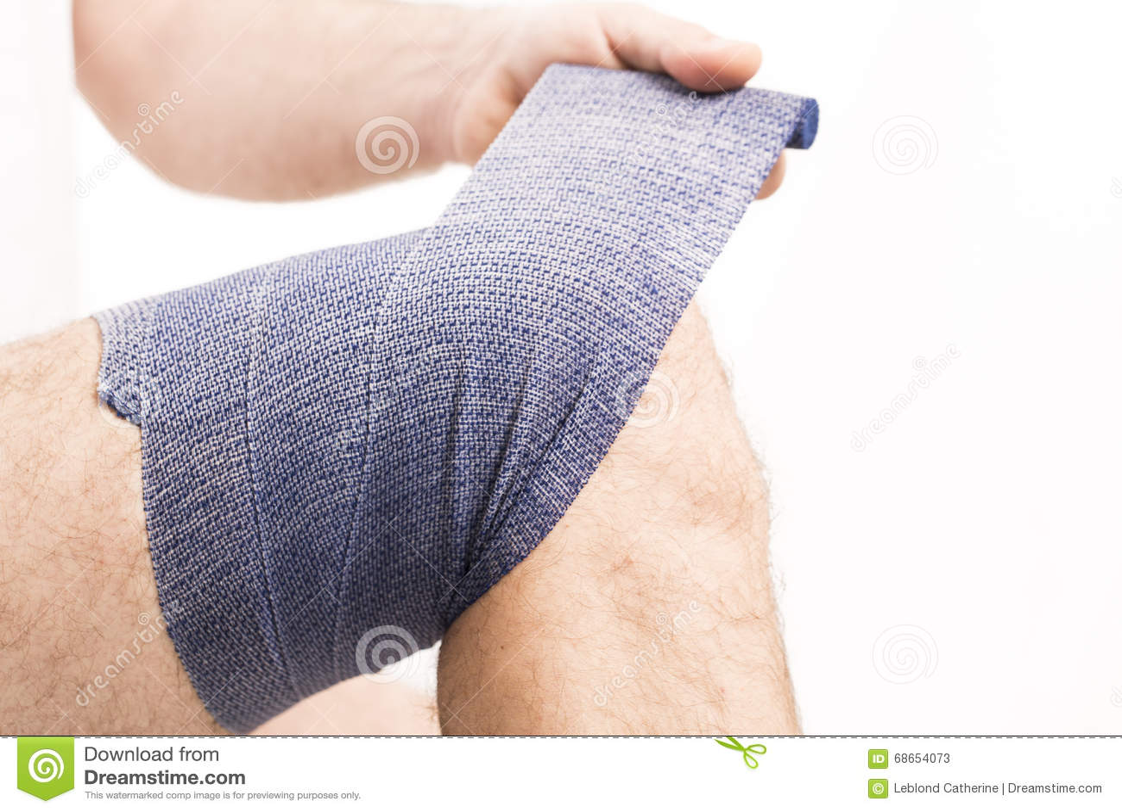 Man Elastic Bandage On Knee Stock Image Image Of Healthy Joint