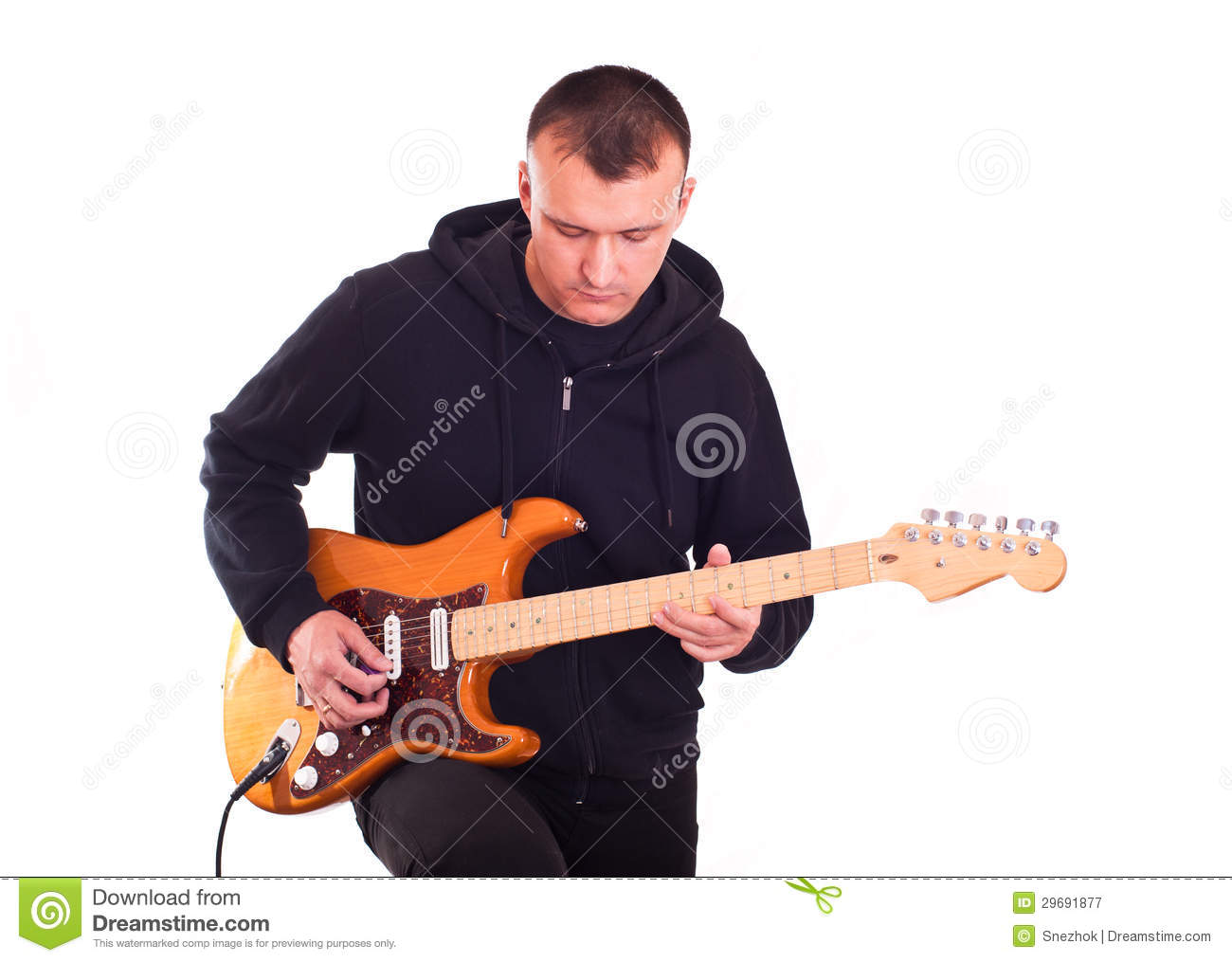 man with electric guitar royalty free stock photography image 29691877. Black Bedroom Furniture Sets. Home Design Ideas