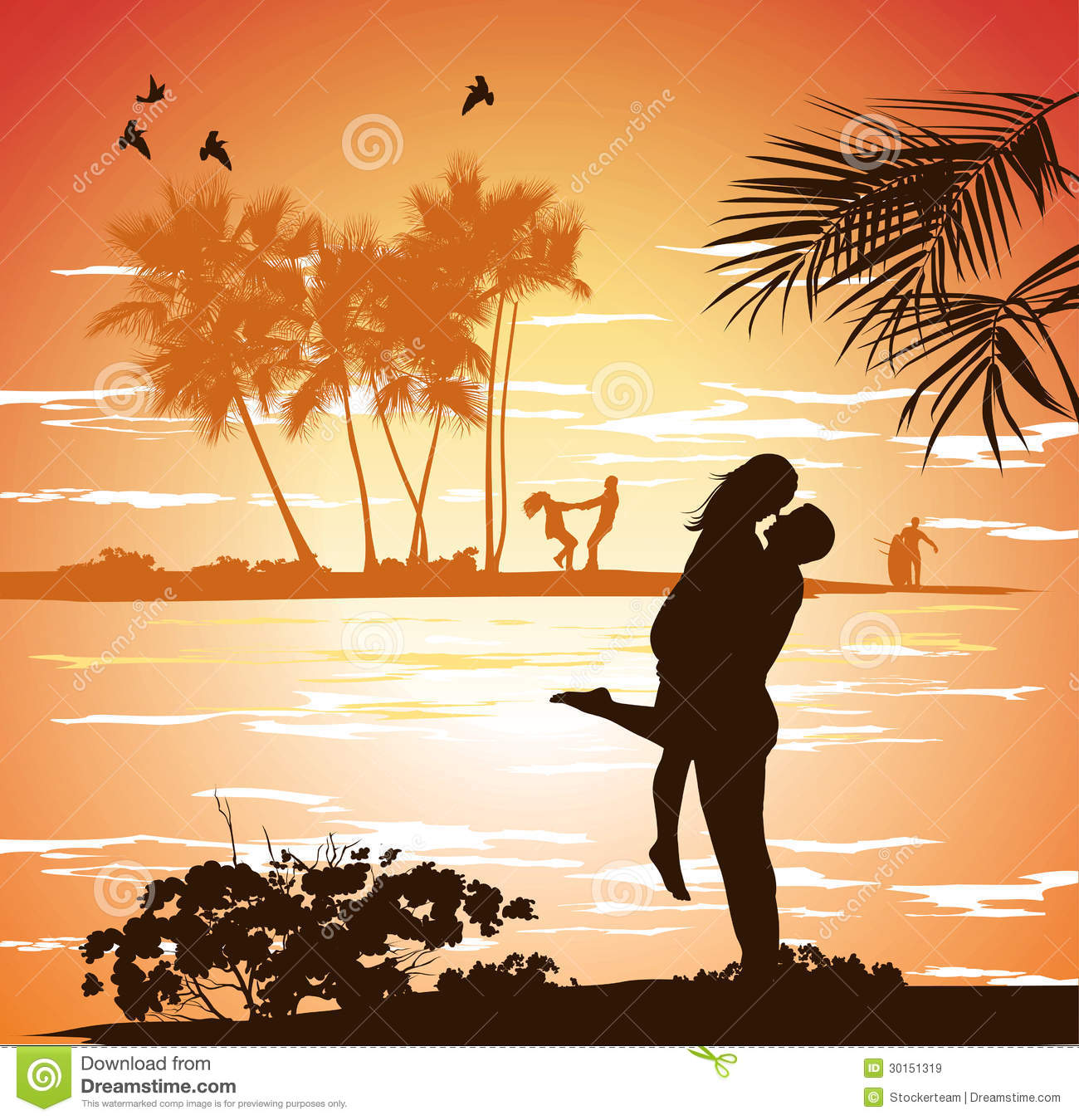 Beautiful Woman Face Over Beach Sunset Stock Image: Man Embraces Woman On The Shore Of The Beach At Sunset