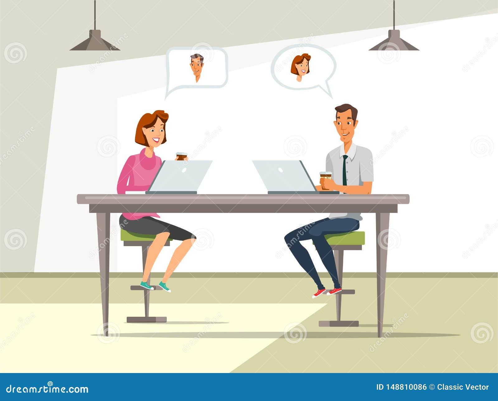 Man en vrouw bij de vectorillustratie van het baangesprek