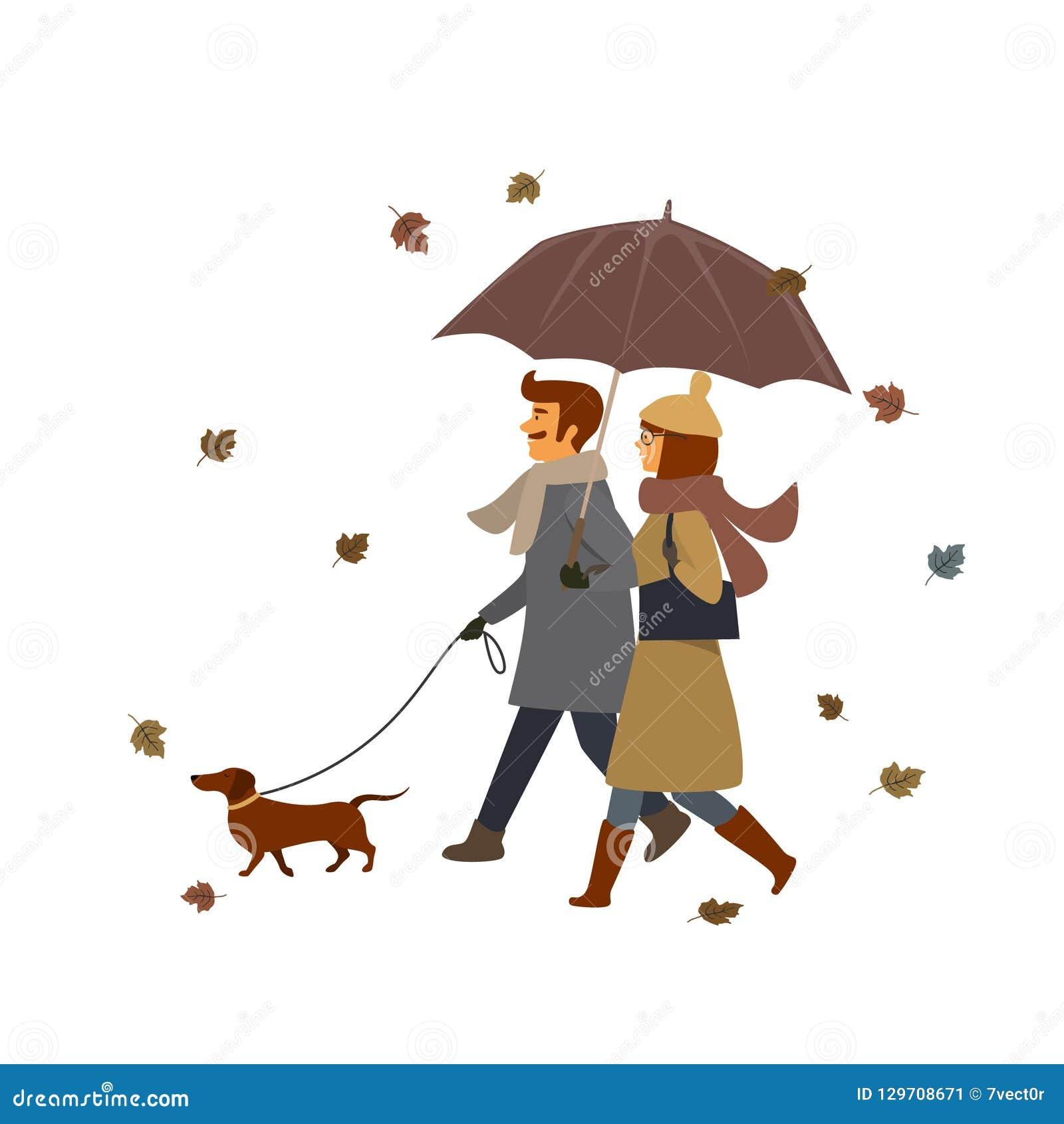 Man en vrouw die met de hond, vector de illustratiescène lopen van de dalingsherfst