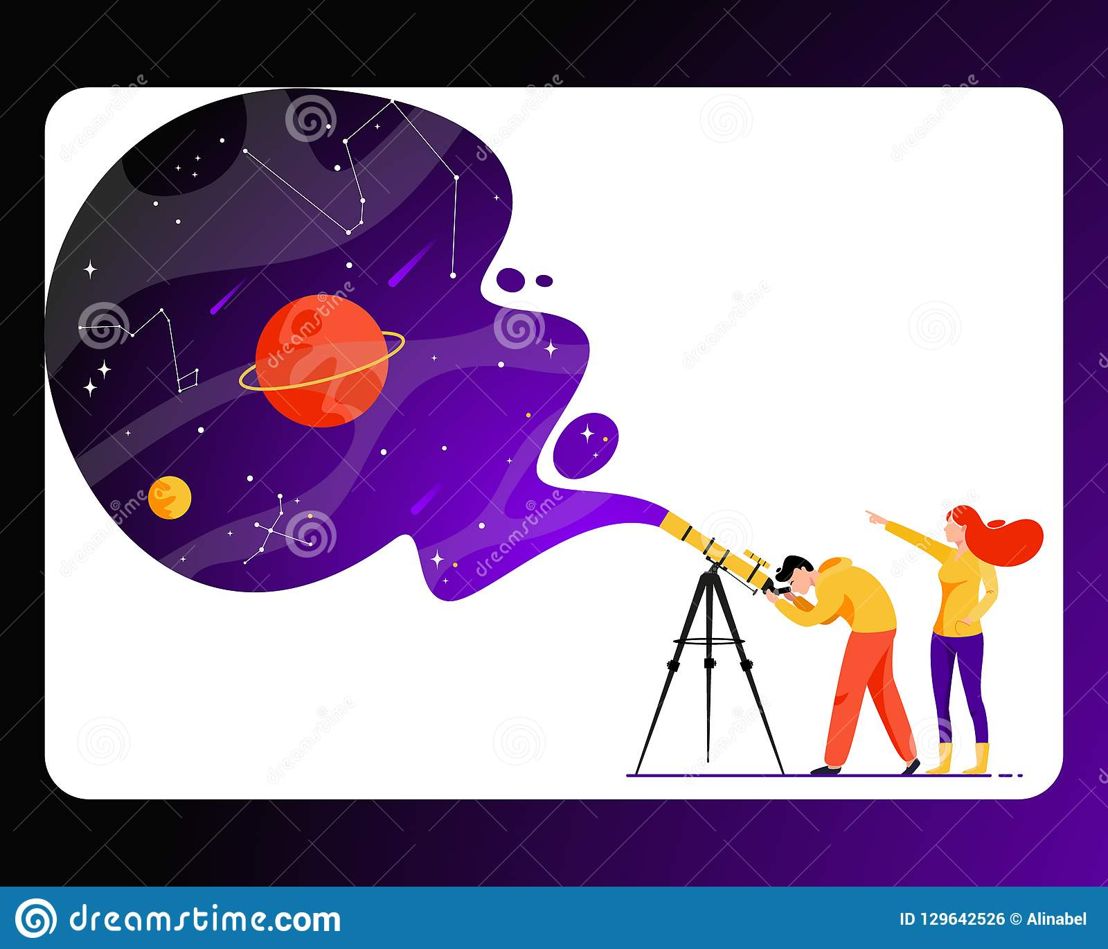 Man en vrouw met telescoop op zoek naar een ster
