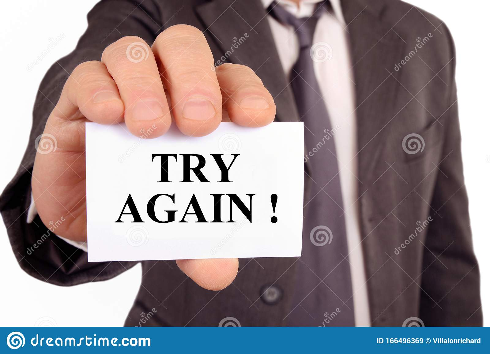 Man Holding A Card On Which Is Written Try Again Stock Image - Image of  perseverance, courage: 166496369