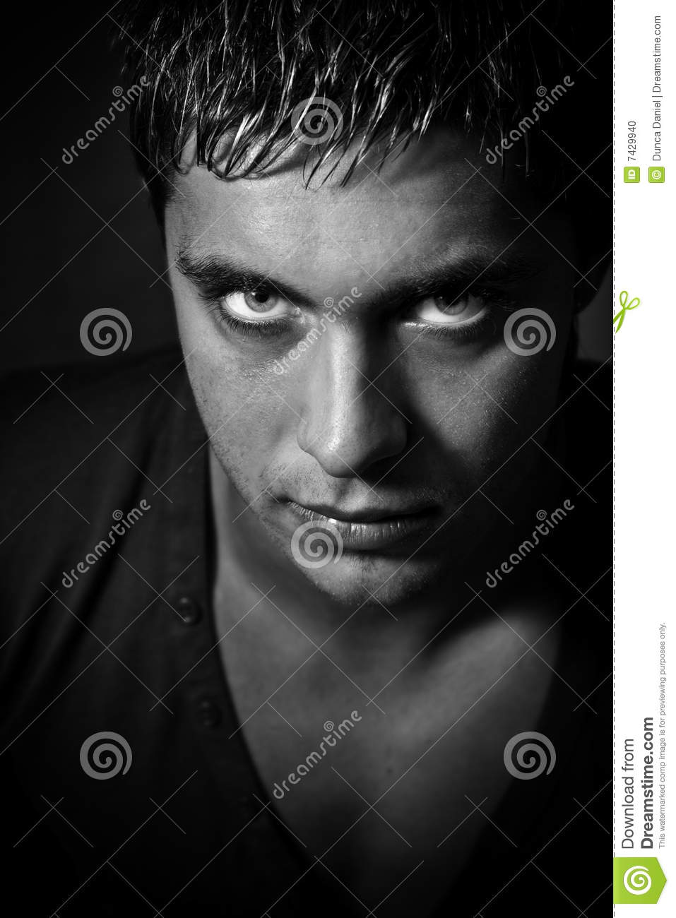 Man with evil scary eyes