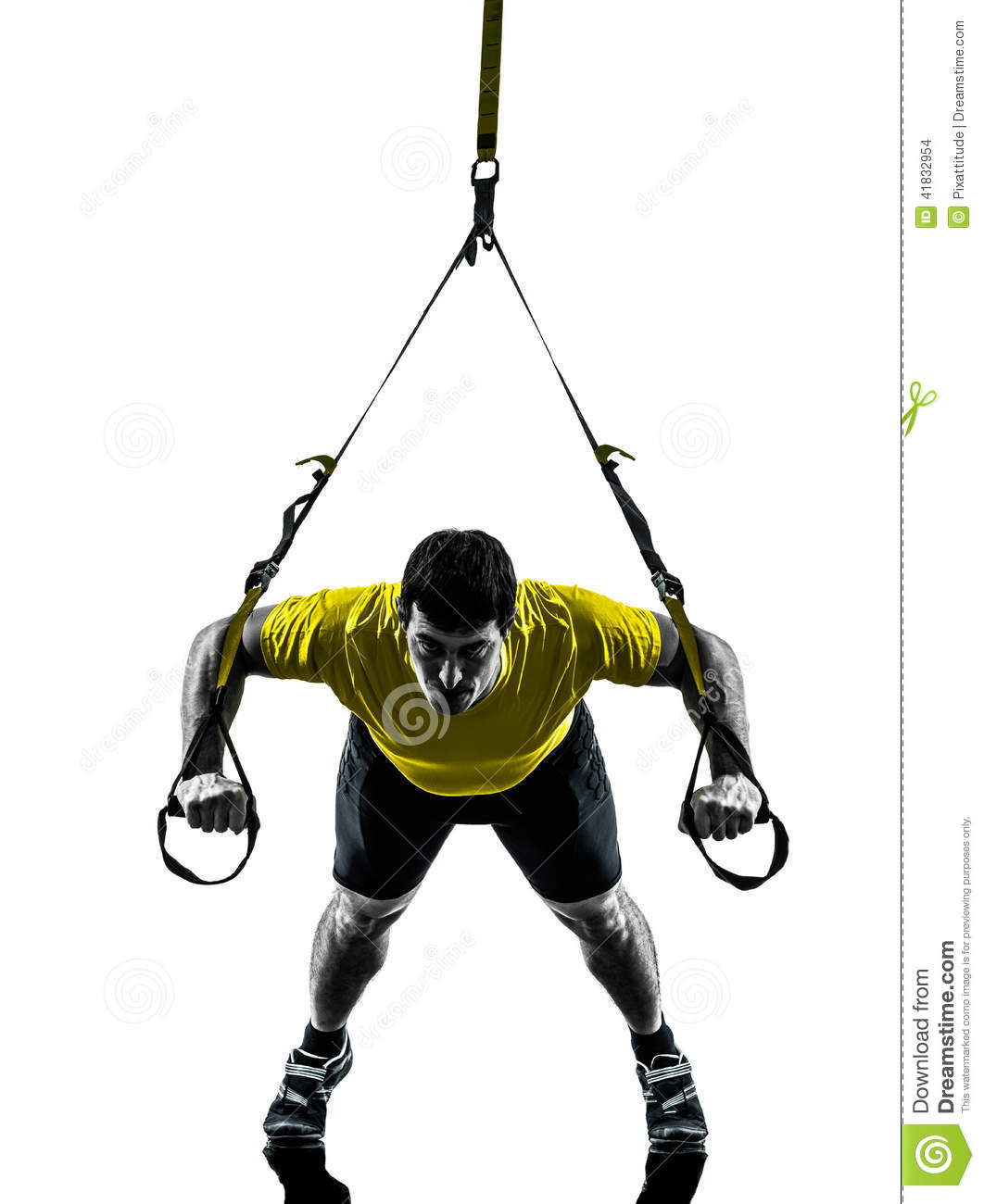 Man Exercising Suspension Training Trx Silhouette Stock Photo - Image ...