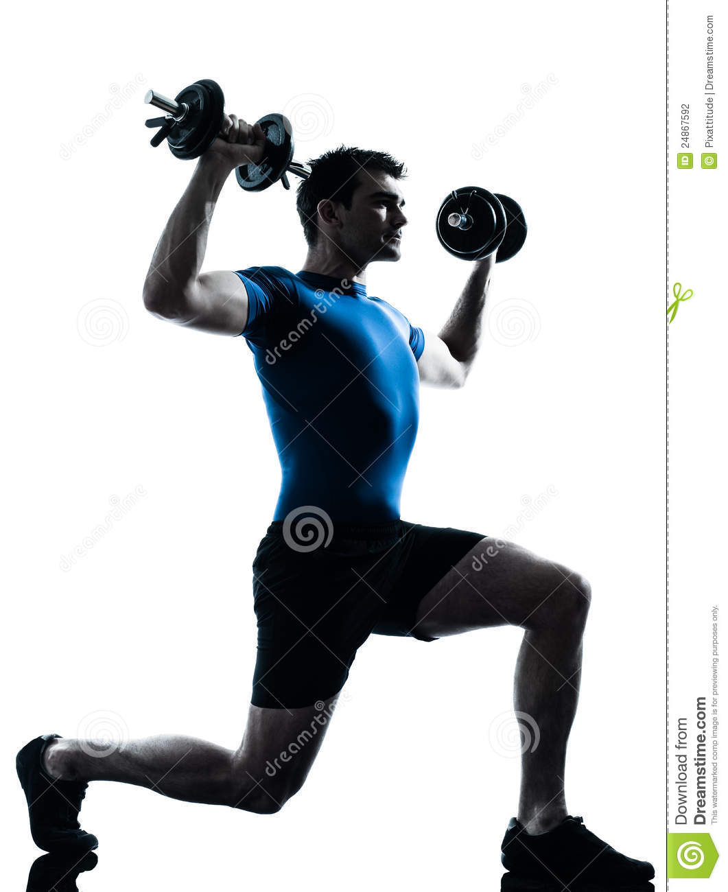 Workout Photography: Man Exercising Weight Training Workout Posture Stock