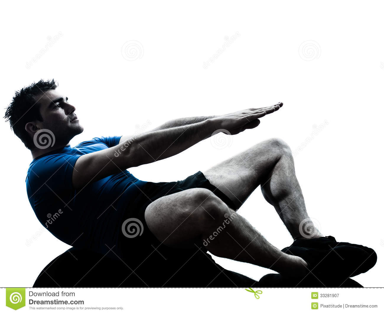 Workout fitness in silhouette studio isolated on white background
