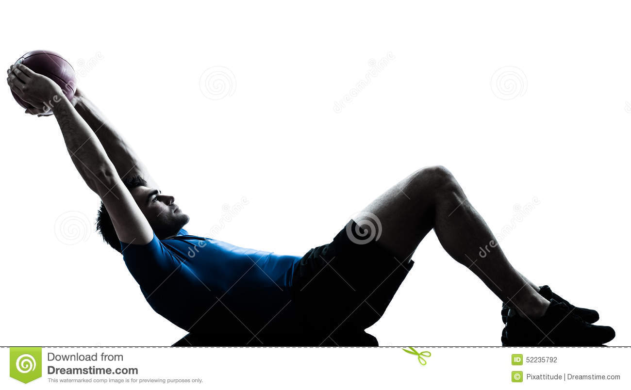 Man exercising workout holding fitness ball