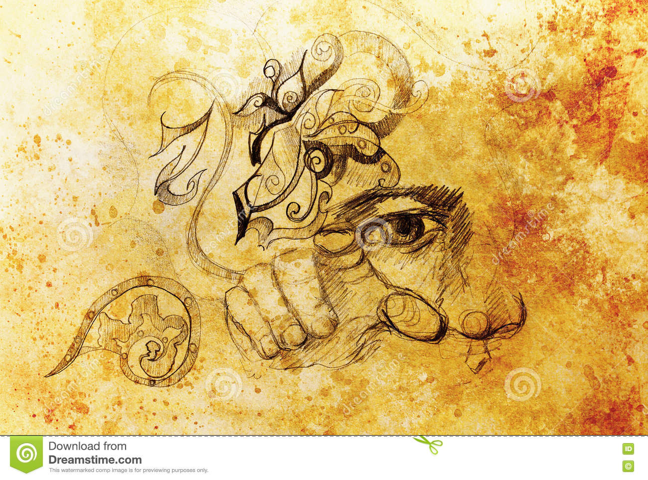 Man eye nose and hand collage pencil sketch on paper color effect