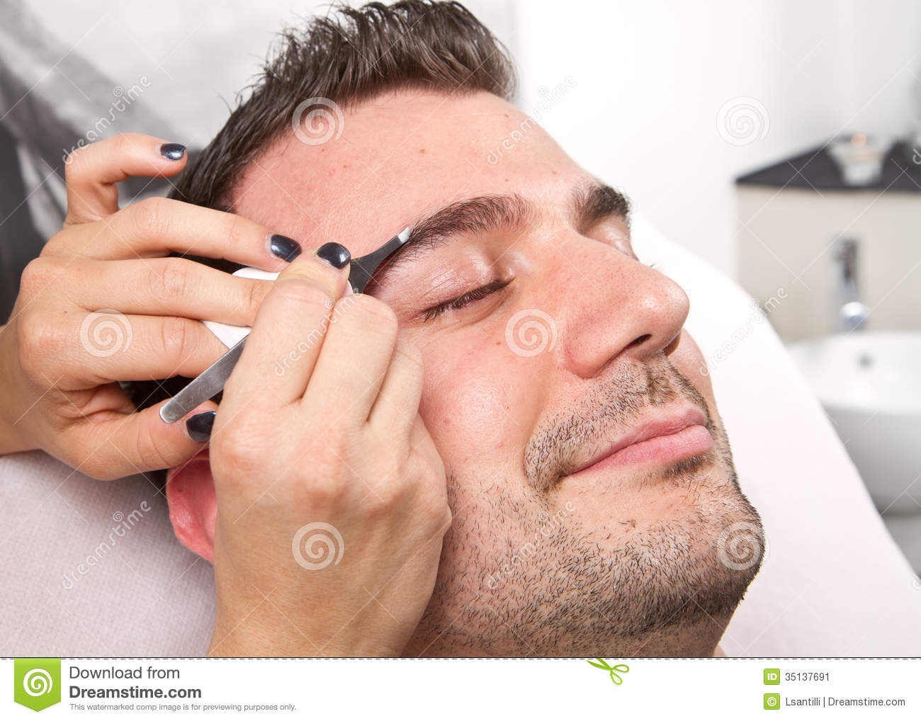 Man eyebrows with tweezers stock image image 35137691 for A beautiful you salon