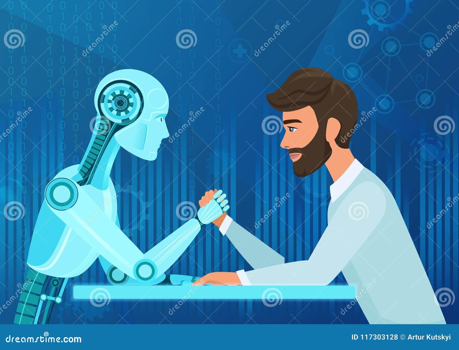 Man för chef för kontor för affärsman för vektortecknad film mänsklig vs konkurrens för dragande rep för konstgjord intelligens f
