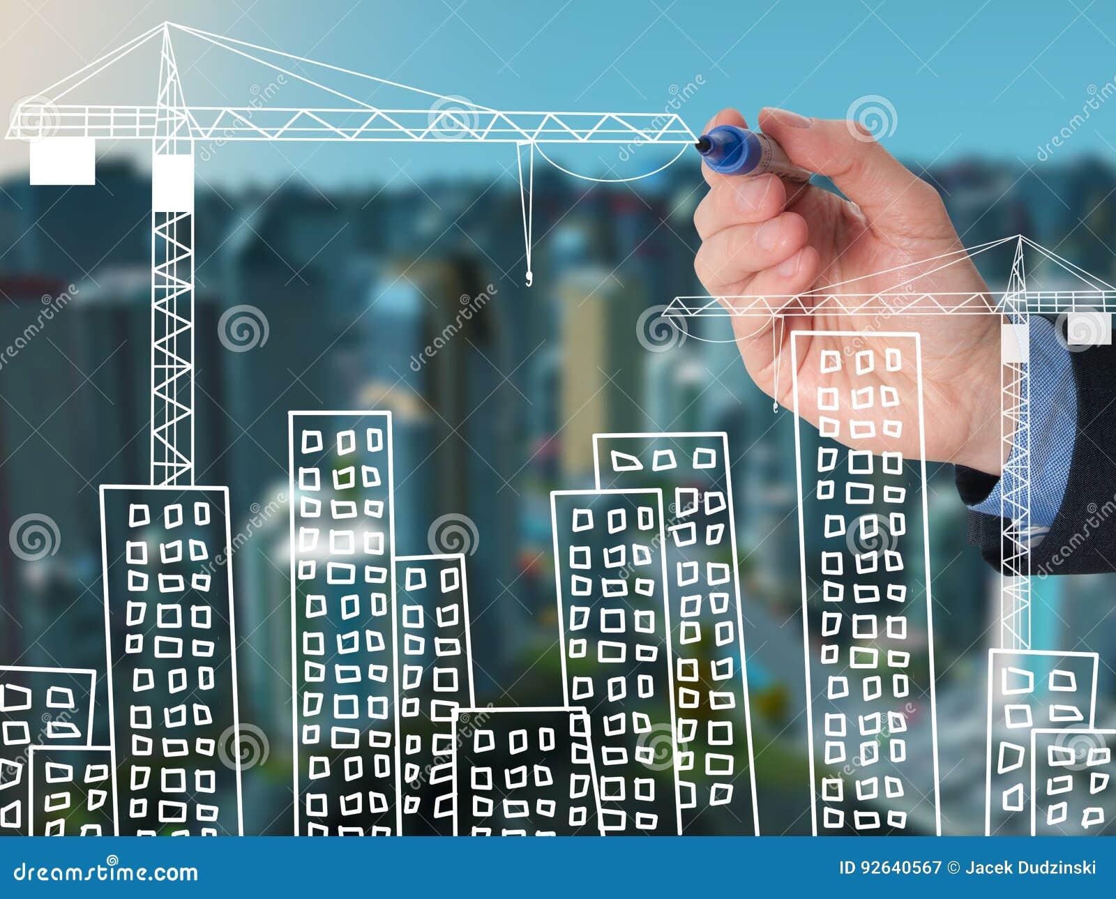 Man för draw för byggnadsaffärscityscape