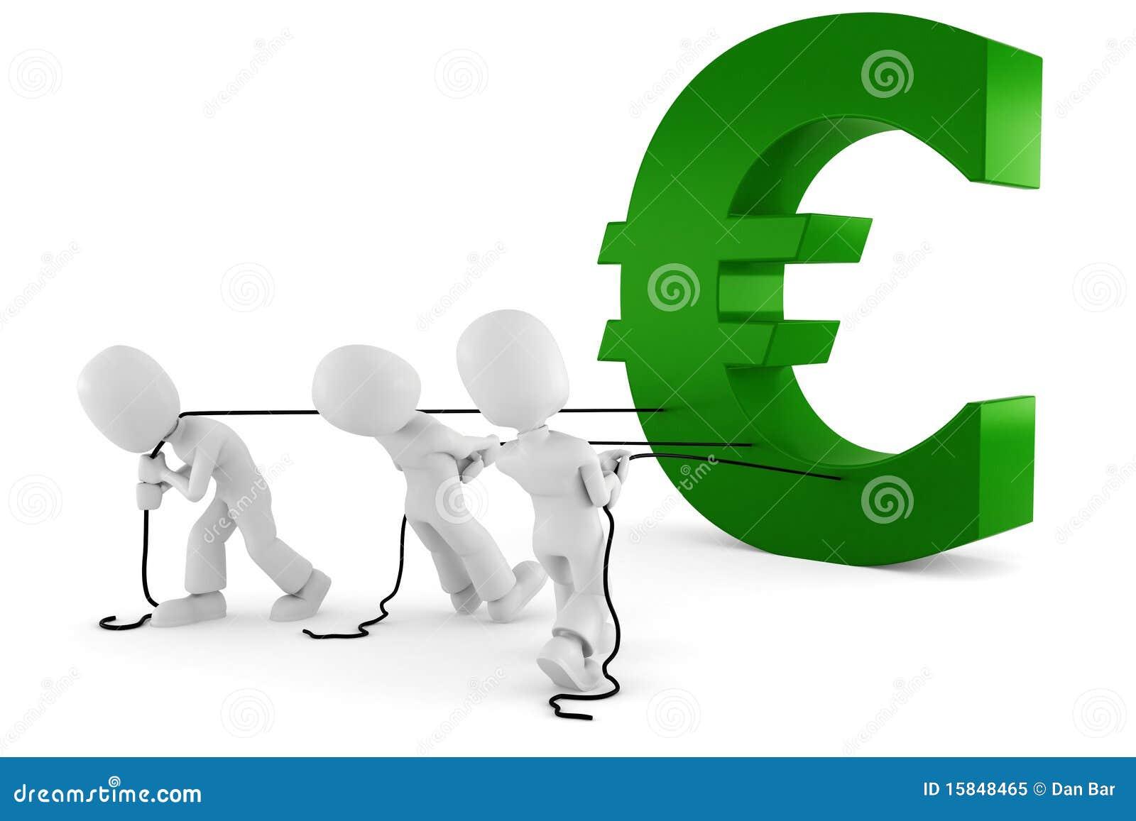 Man för euro som 3d drar symbol