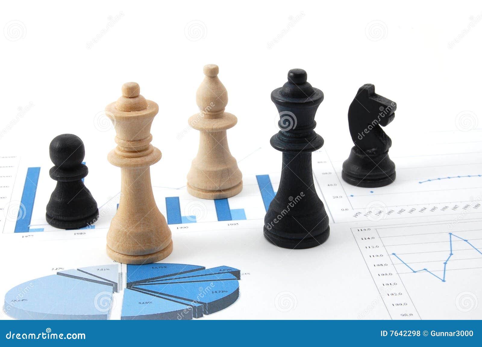 Man för schack för affärsdiagram över