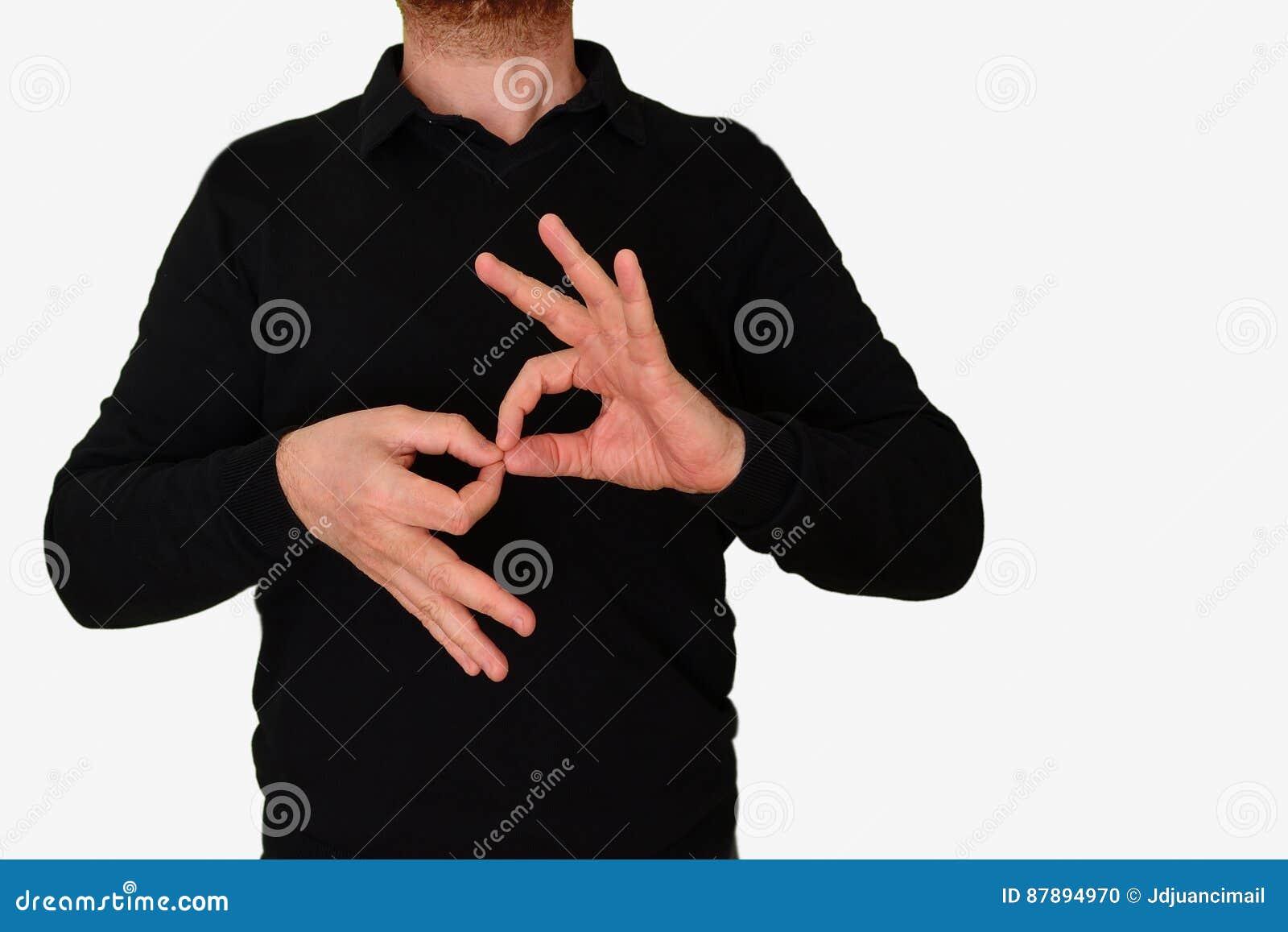 Man för tolkare för teckenspråk som översätter ett möte till ASL, språk för amerikanskt tecken tomt kopieringsutrymme