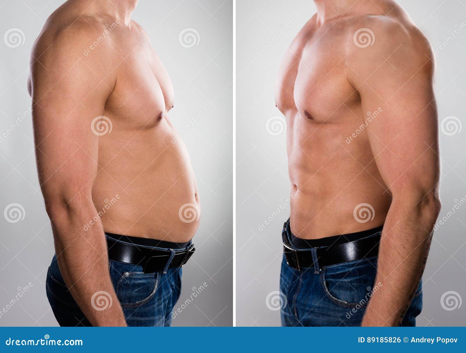 Man före och efter som lossar fett