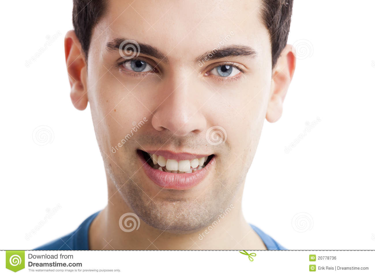man face stock photo image of closeup look blue expression
