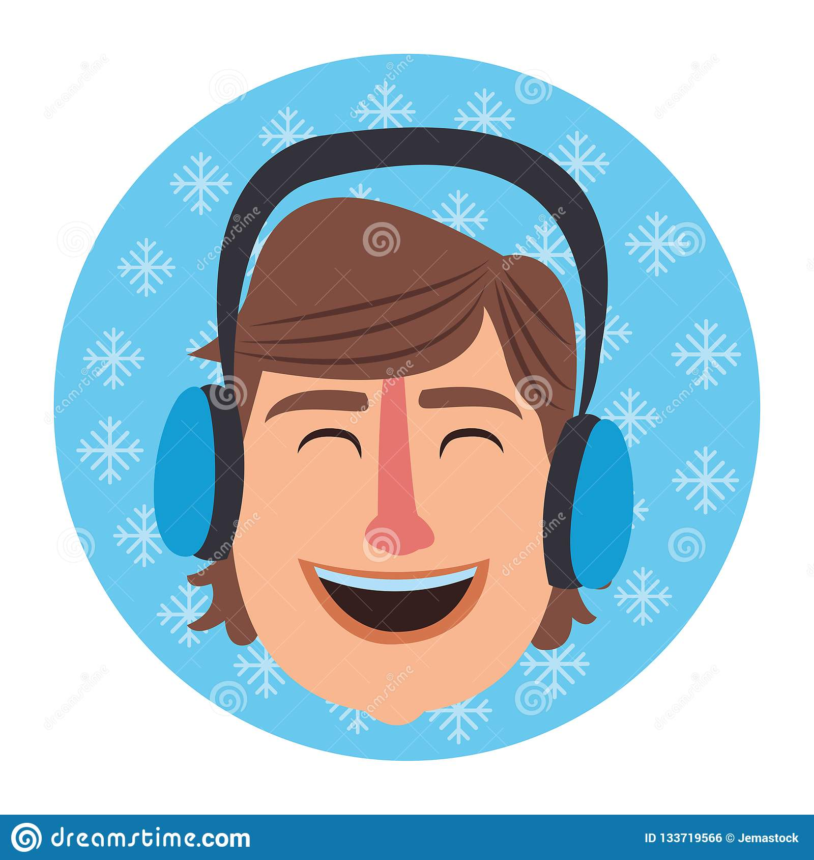 69150debb657c Man face smiling with winter earphones cartoon on snowflakes round icon  vector illustration graphic design