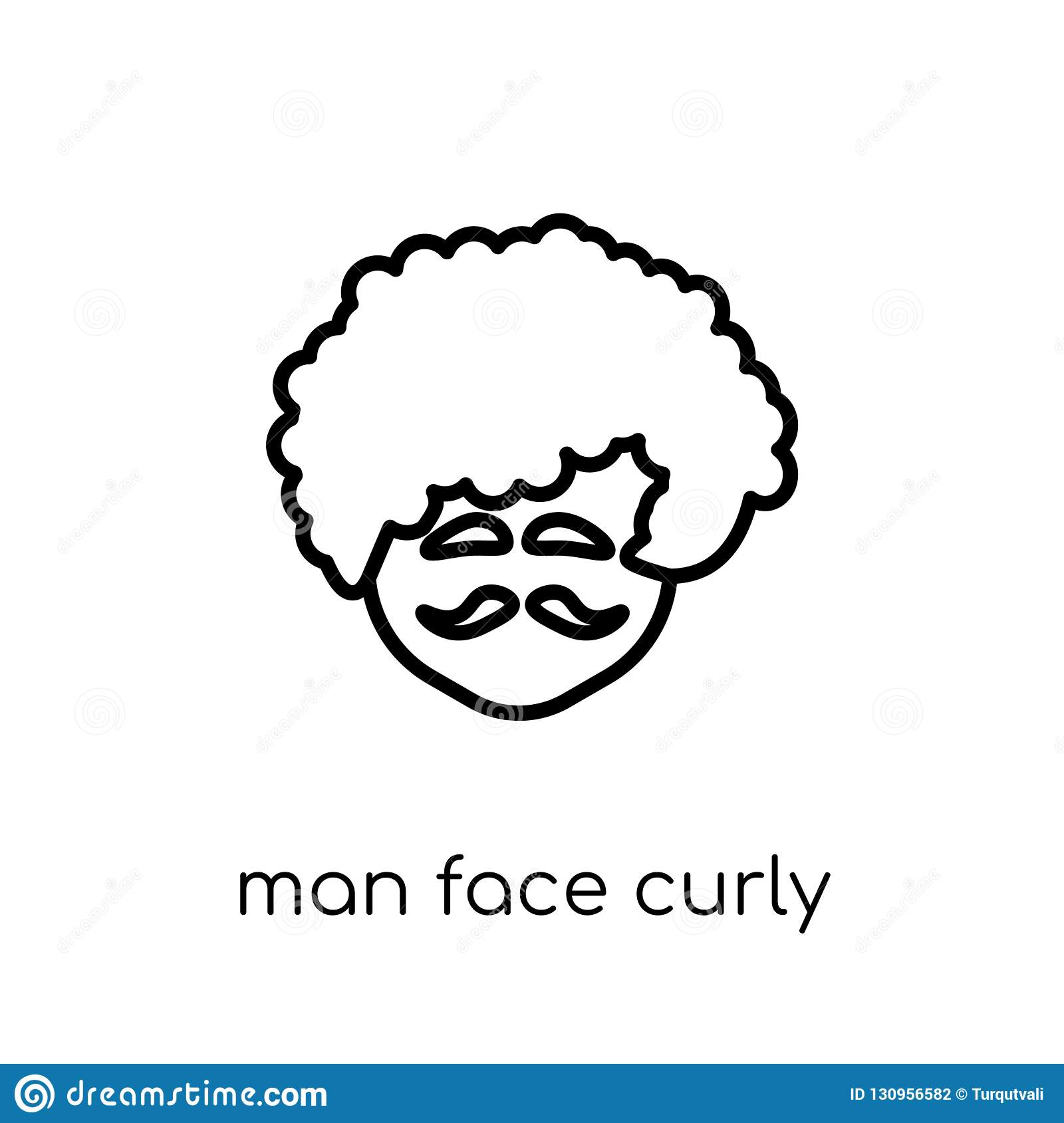 Man face curly hair and moustache icon. Trendy modern flat linea