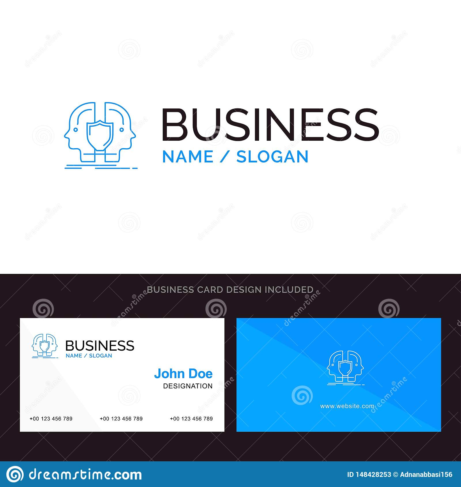 Man, Face, Dual, Identity, Shield Blue Business Logo And Business Within Shield Id Card Template