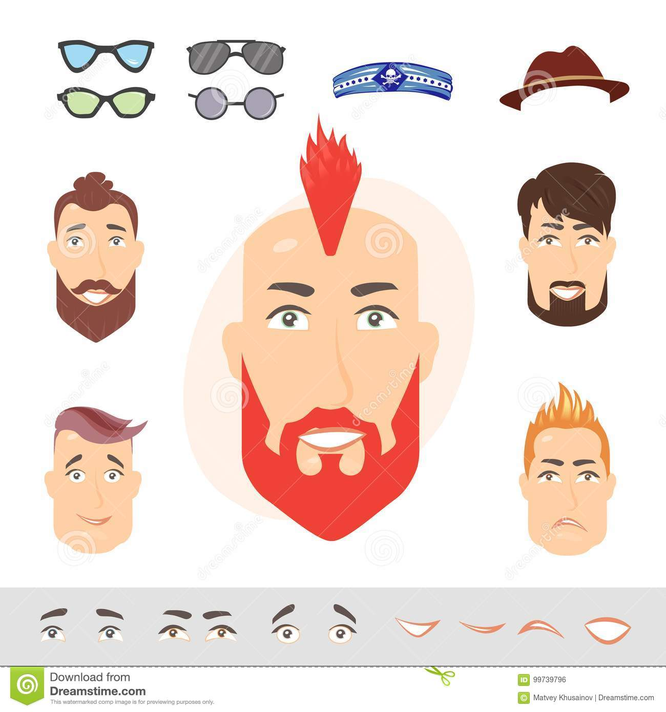 Laughing Redhead Bearded Man Male Emotional Face Avatar With Expression Vector Ilration On