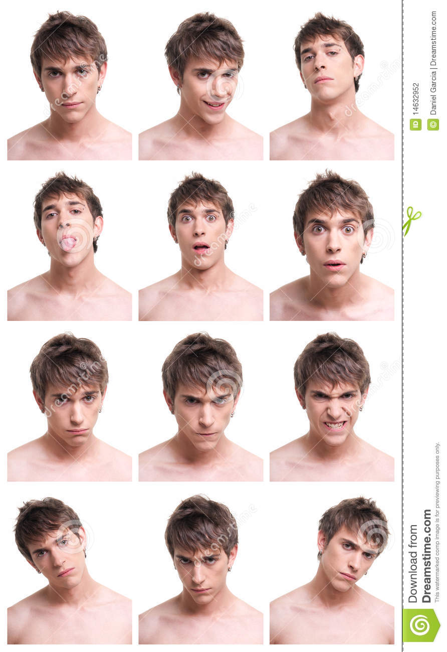 Man face expressions composite isolated on white